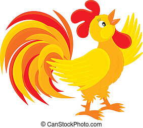 Rooster - red and yellow cock crowing