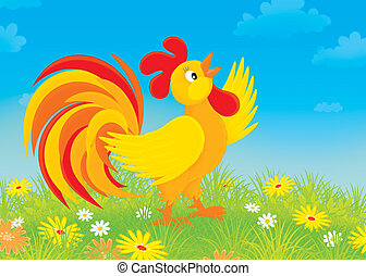 Rooster - red and yellow cock crowing on a field with ...