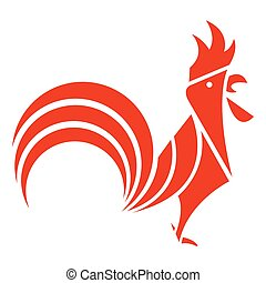 Rooster red silhoutte logo.Vector illustration