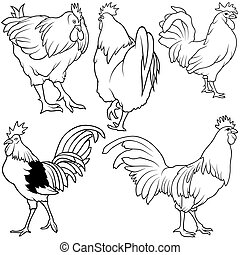 Rooster Set 2 - black hand drawn illustration
