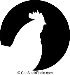Rooster silhouette in front of moon