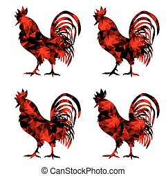 Rooster, triangular geometric polygonal roosters, isolated illustration of cock on white background