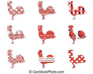 Rooster with a pattern. Set. Vector illustrations.