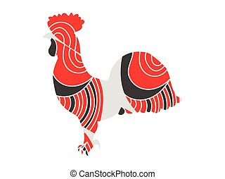Rooster with a pattern. Vector