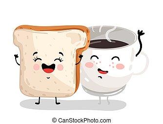 roosteren, gekke , koffiekop, karakter, spotprent, brood