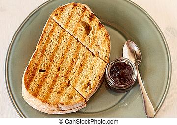 roosteren, grijs, plaat., houten, glanzend, jam, kers, witte , gebraden, tafel., brood