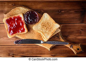 roosteren, jam, houten, kers, rustiek, holle weg, board.
