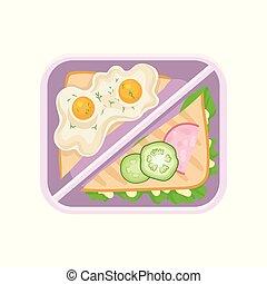 roosteren, plat, broodje, ham, sla, eitjes, plastic, etentje, komkommers, vector, smakelijk, bladeren, box., brood, gebraden, breakfast., pictogram