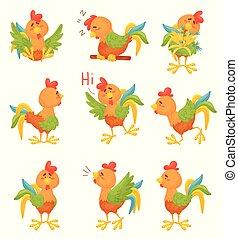 roosters., arrière-plan., illustration, vecteur, dessin animé, blanc, ensemble