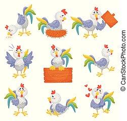 roosters., arrière-plan., illustration, vecteur, gris, blanc, différent, ensemble