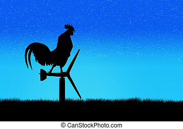 Roosters crow stand on a wind turbine. In the morning sunrise background