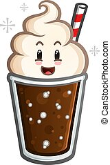 A cute happy root beer float cartoon character with a red and white striped straw ready for a sweet dessert