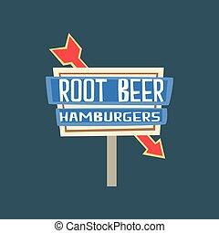 Root beer, hamburgers retro street signboard, vintage banner vector Illustration