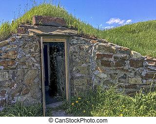 root cellar with open door, Newfoundland