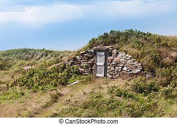 Root cellar wooden entry door Elliston NL Canada