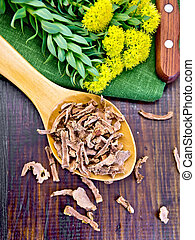Root dry of Rhodiola rosea in spoonful on board