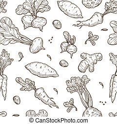 Root food sketch seamless pattern celery and carrot - Farm...