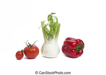 Root of parsley of red pepper and tomato on white background. Vegetables in composition on a white background.