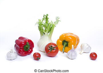 Root of parsley of red pepper with yellow pepper and tomatoes on white background.