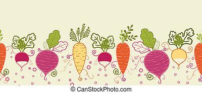Root vegetables horizontal seamless pattern background border