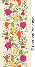 Root vegetables vertical seamless pattern background border...