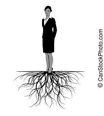 roots., 女, ベクトル, illustration.