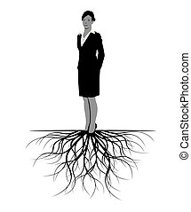 roots., donna, vettore, illustration.