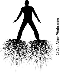 Roots - Editable vector silhouette of a man with roots from...