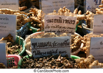 Roots for sale - Ginger roots and other roots for sale at a...