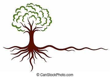 roots., symbole, arbre