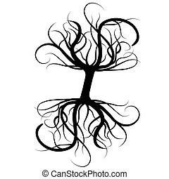 Roots tree black silhouette tattoo