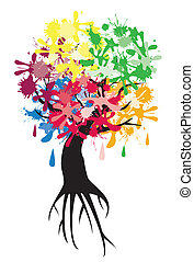 Roots - vector tree with ink spots and roots