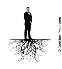roots., vetorial, illustration., homem