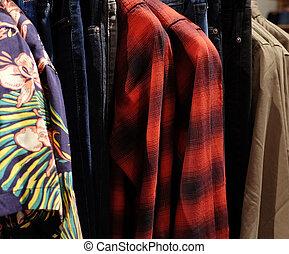 ropa, ahorcadura, estante, shop.