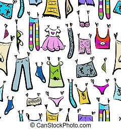 ropa, bosquejo, seamless, patrón, para, su, diseño