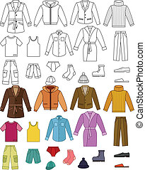 ropa, colección, mens
