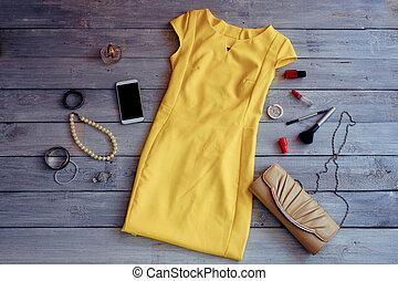 ropa, collection., mujeres, holidays., amarillo, ropa, verano