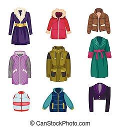 ropa, conjunto, vector, otoñal, sleeved, invierno, largo, artículos, ropa de calle