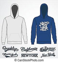 ropa de calle, mockup, moda, template., realista, hoody, frente, vista., sweatshirt, ropa