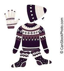 ropa de invierno, objetos, patrones, navidad, géneros de...
