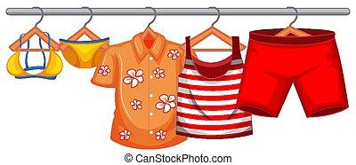ropa de verano, aislado, ahorcadura