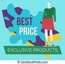 ropa, descuento, time., ventana, oferta, venta, mannequins., bandera, especial, tienda, grande, mejor