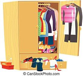 ropa, desordenado, guardarropa