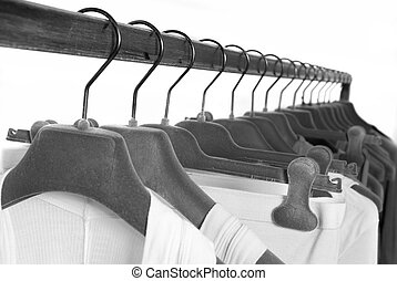 ropa, en, estantes, en, tienda