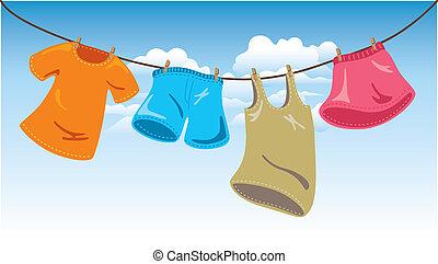 ropa, en, línea que se lava