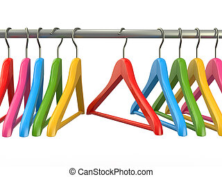 ropa, hangers., 3d