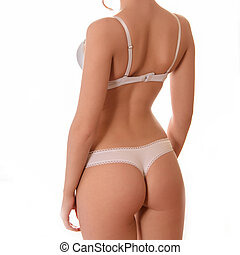 ropa interior atractiva, blanco, espalda, niña