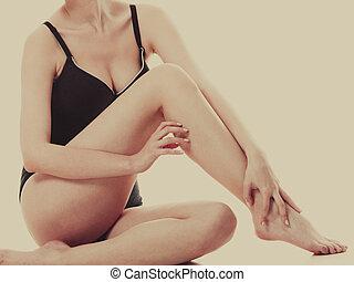 ropa interior, mujer se sentar, actuación, liso, piernas