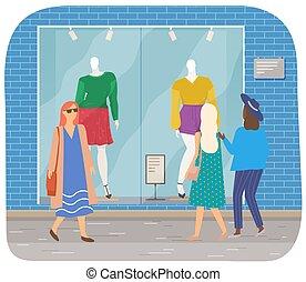 ropa, mirar, ventana, hembra, caracteres, city., ambulante, calle, tienda, mujeres