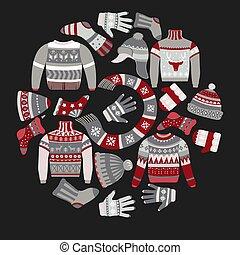 ropa, ornamentos de navidad, tejido, invierno, géneros de...